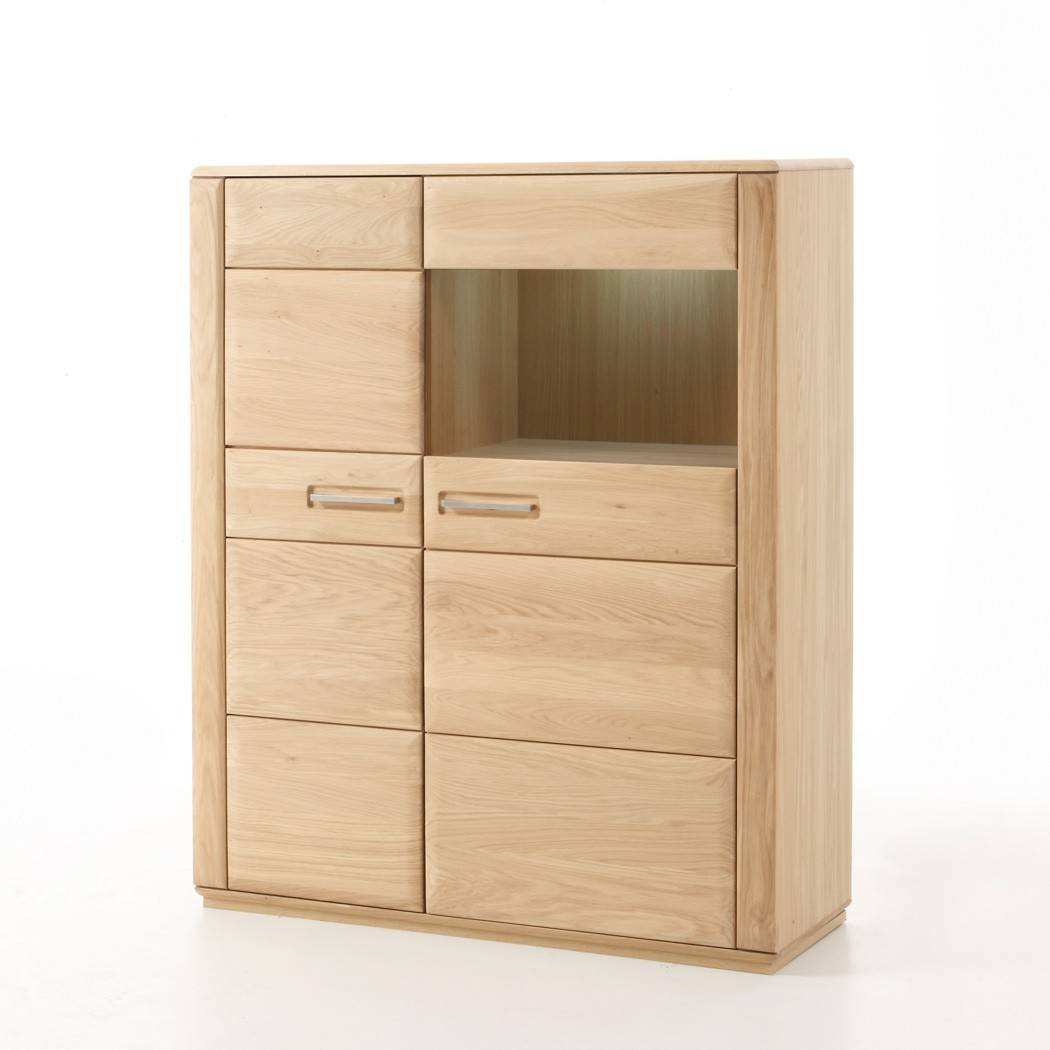 Highboard Eiche Highboard Senta 3 Eiche Bianco Teilmassiv 107x132x38cm