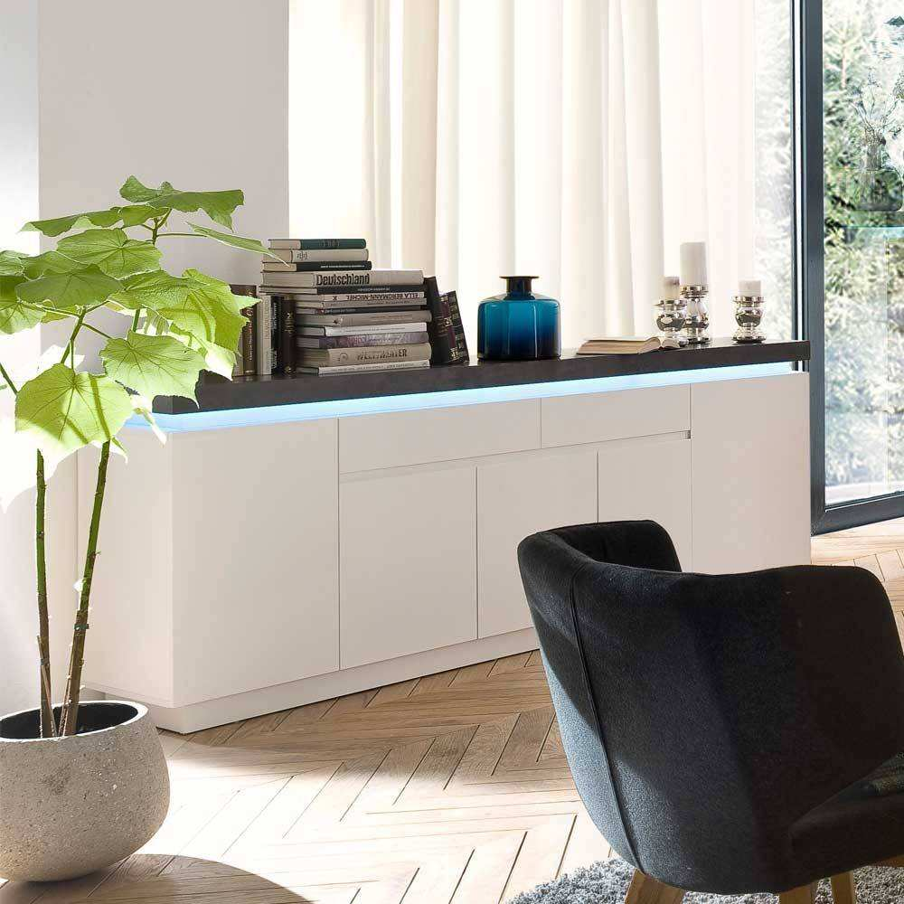 Wohnzimmer Sideboard Croscon mit LED Beleuchtung Pharao24
