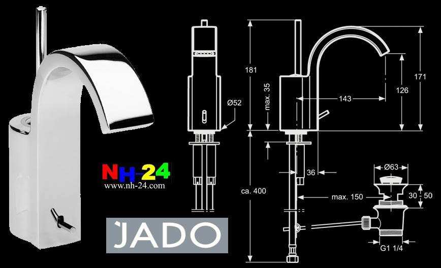 Jado Glance Jado Glance Single Lever Basin Battery Basin Fitting