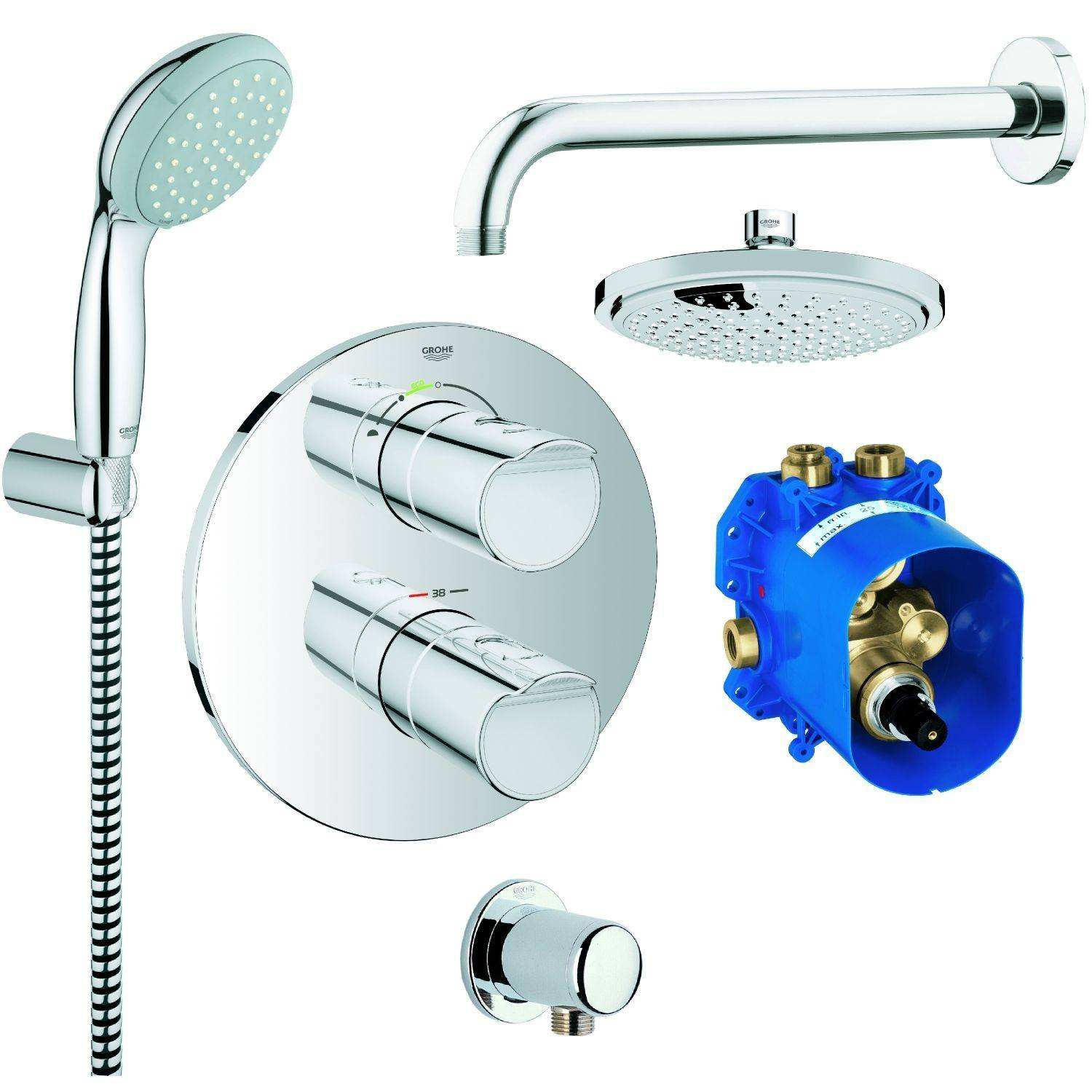 Thermostatbatterie Dusche Grohe Brause Set Runde form M Grohtherm 2000